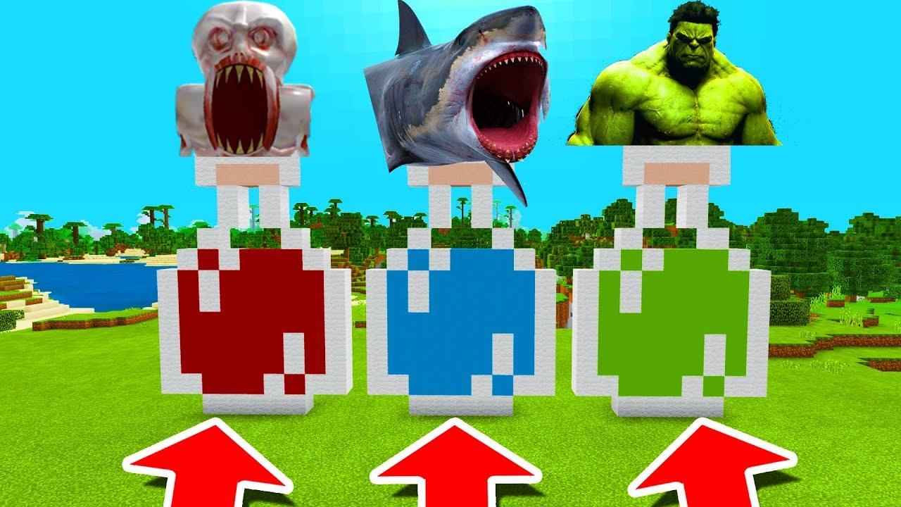 Minecraft PE : DO NOT CHOOSE THE WRONG POTION! (SCP-096, Shark & Hulk)
