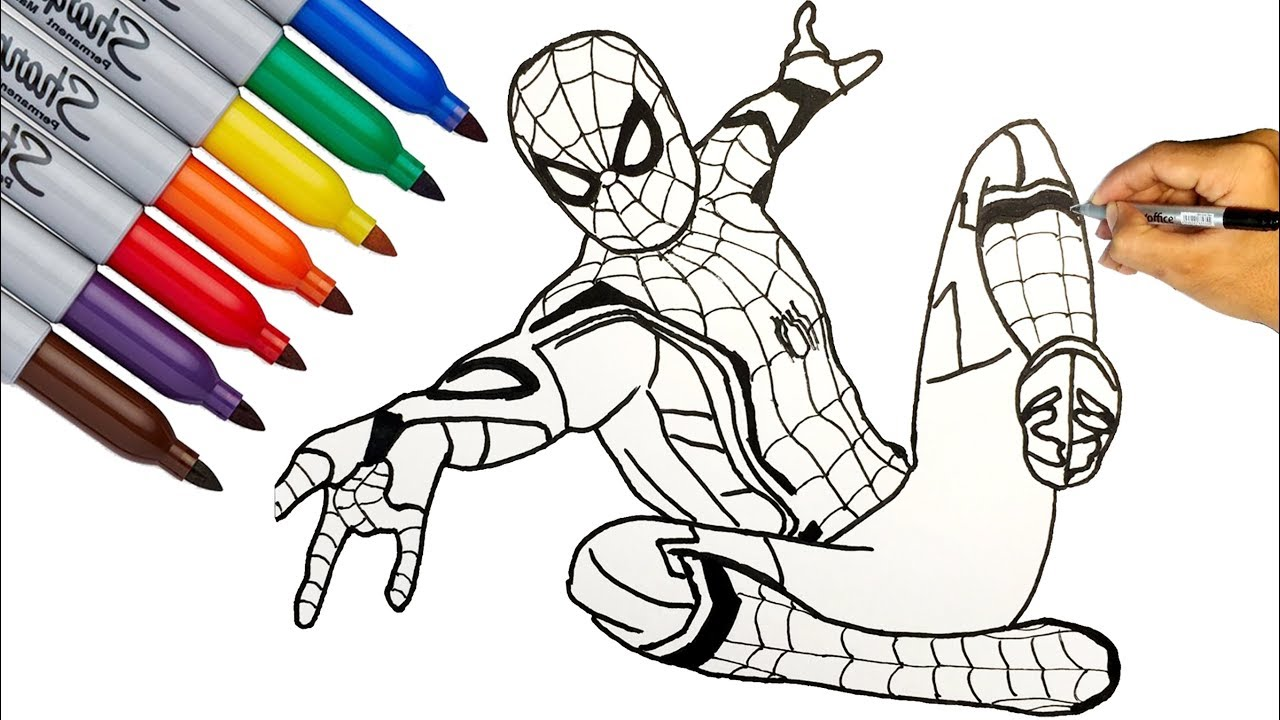 Spider Man Spider Man Far From Home Coloring Pages How To Draw Spider Man