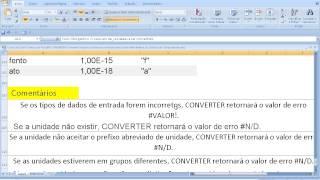 Curso de Excel Como usar Função CONVERTER Transformar unidade medida número sistema de medida Física
