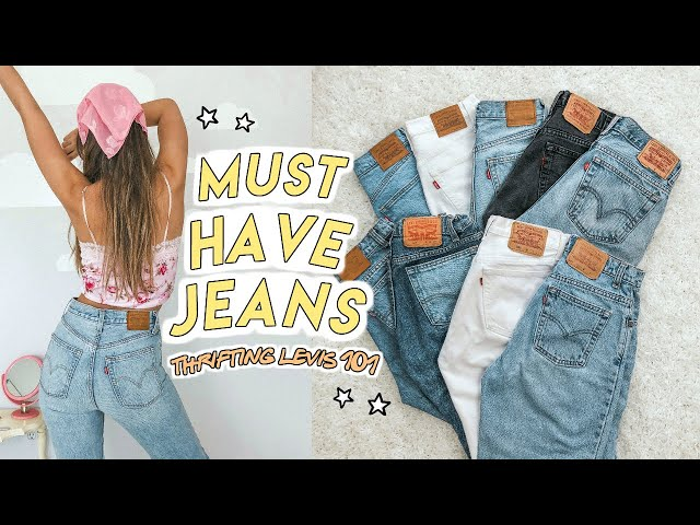 THRIFTED LEVIS COLLECTION (try on) ☆ the BEST JEANS every girl needs for FALL!