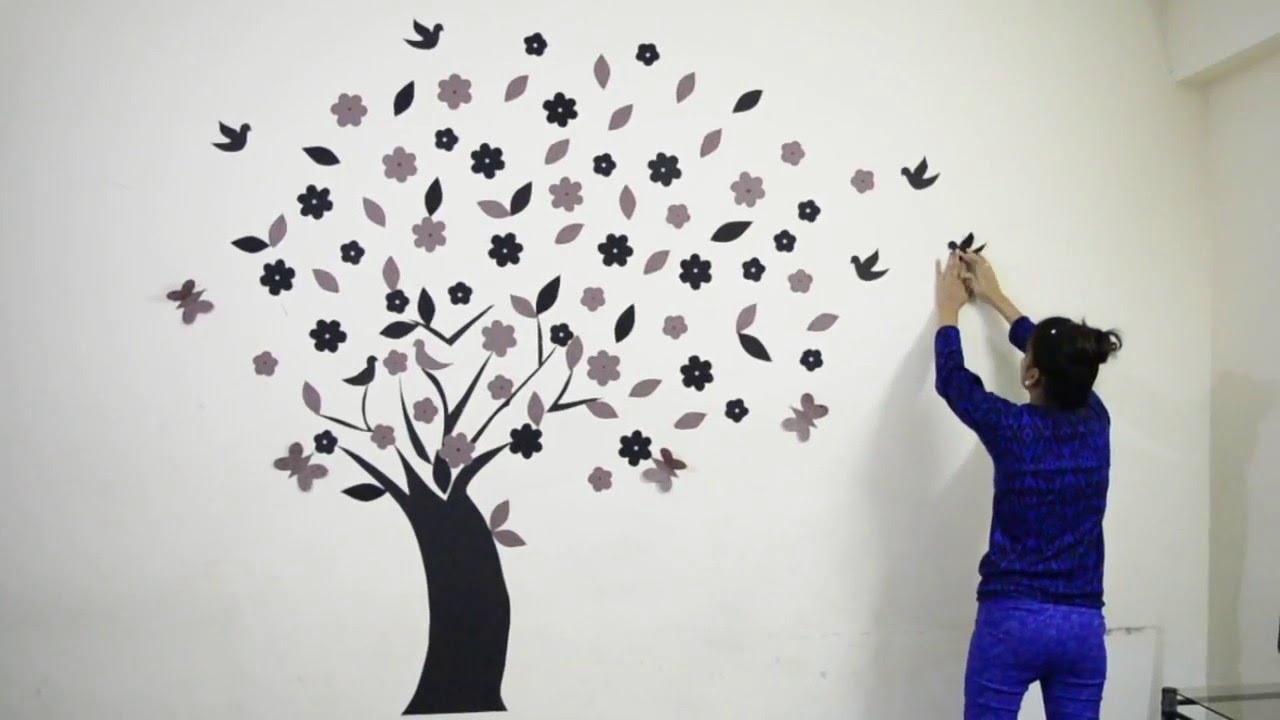 Diy how to make beautiful 3d wall decoration tree 02 youtube diy how to make beautiful 3d wall decoration tree 02 amipublicfo Choice Image