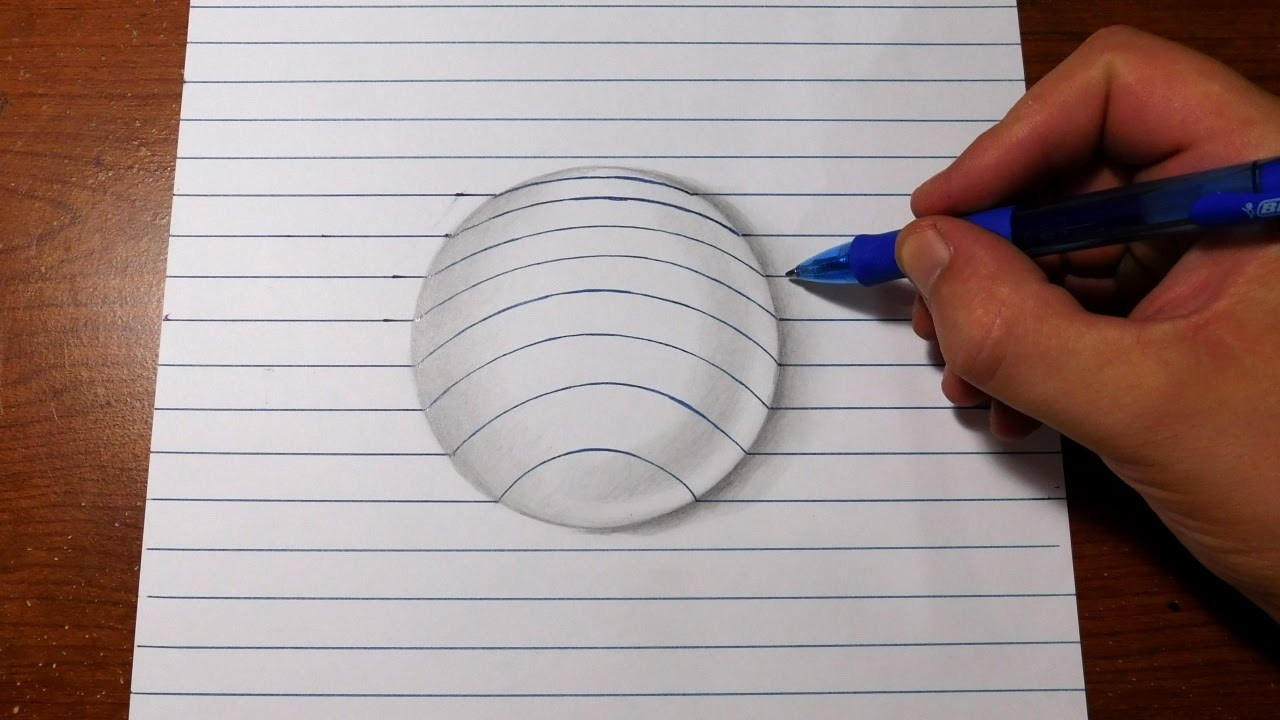 Easy 3d Line Drawings : How to draw d art easy line paper trick youtube