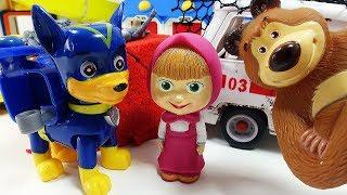 Маша и Медведь. Щенячий патруль. Мультики для детей и малышей и Игрушки! Маша гоняет на Машинки!