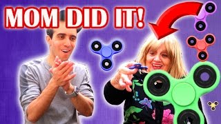 HOW TO DO FIDGET SPINNER TRICKS 101! Teaching My Mom Spinner Tricks