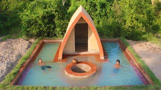 Building Beautiful Mud House ,Groundwater Well And Underground Swimming Pool In Forest