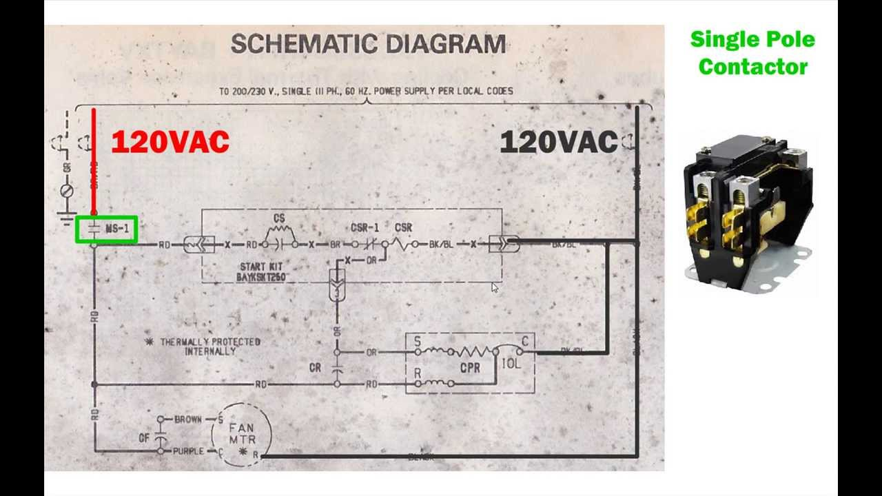 Typical Air Conditioner Wiring Diagrams Free Diagram For You 1 Wire Hvac Condenser How To Read Ac Schematic And Rh Youtube Com