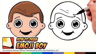 How to Draw a Boy Emoji for Beginners Step by Step | BP