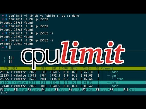 cpulimit, limit process running time in percentage