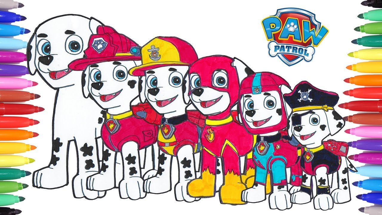 PAW PATROL Coloring Pages Marshall Switch Clothes How to