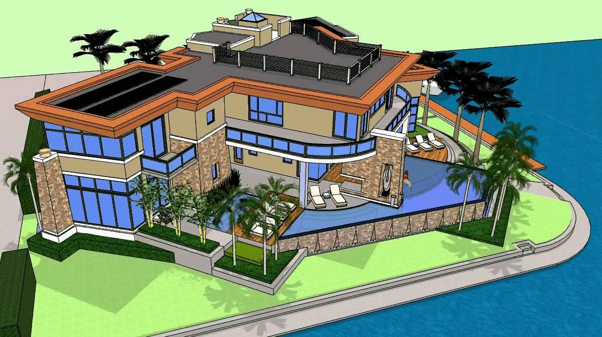 Best Kitchen Gallery: 3d Rendering Of A Custom Modern Luxury Home On The Waterfront of Luxury Home Renderings on rachelxblog.com
