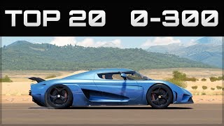 TOP 20 FASTEST 0-300 CARS   Forza Horizon 3   Crazy Accelerations!