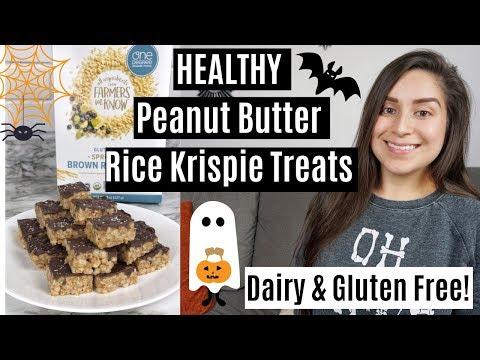 Healthy Peanut Butter Rice Krispie Treats! (Dairy & Gluten Free)