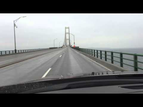Driving Across Lake Michigan on the Mackinac Bridge December, 2015