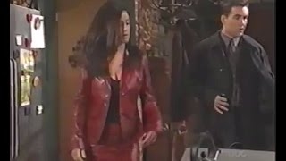 Julie Pinson red leather skirt suit