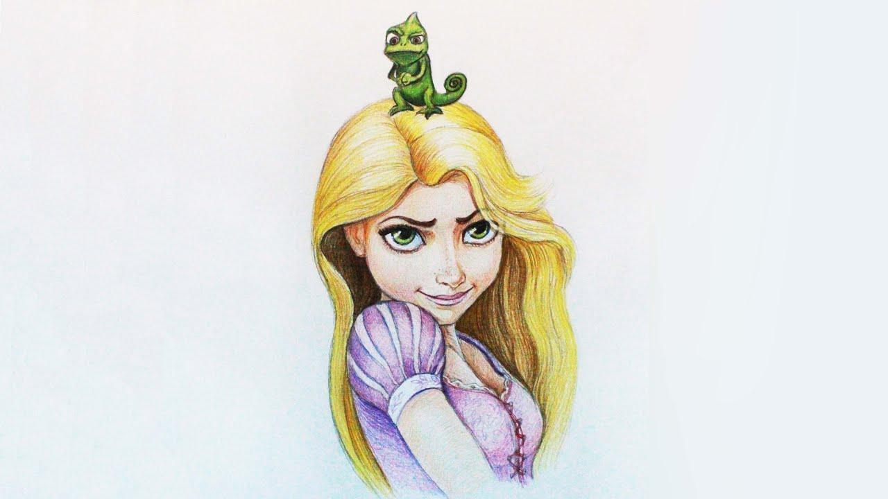 Уроки рисования. Как нарисовать Рапунцель how to draw Rapunzel from