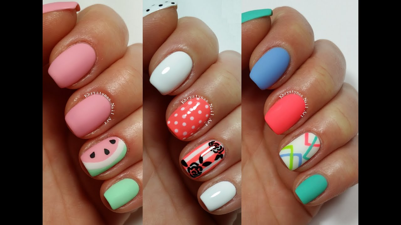 3 Easy Nail Art Designs For Short Nails Freehand 2 Youtube