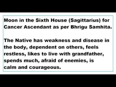 moon in 6th house for Cancer Ascendant as per Bhrigu Samhita