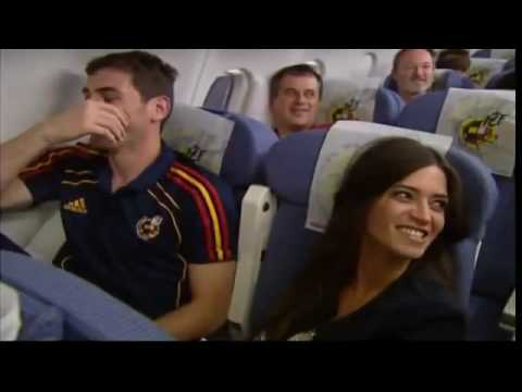 Spain's football team party on their flight home