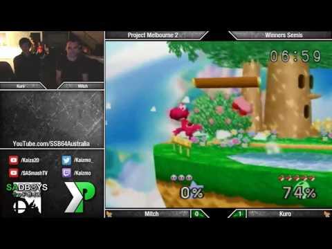 Project Melbourne 2 - SSB64 - Mitch (Pikachu/Kirby/Fox) vs Kuro (Yoshi) - Winners Semis