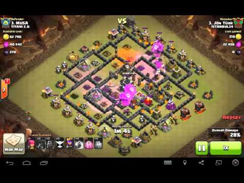 Clash of Clans - Th9 Clan War Balloon + Lava Hound Attack 3 Stars ( Without Barbarian King )