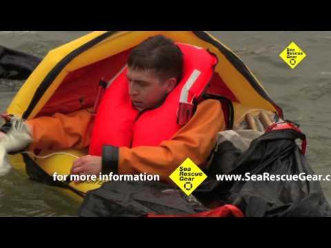Demo of Survivor life raft and vest