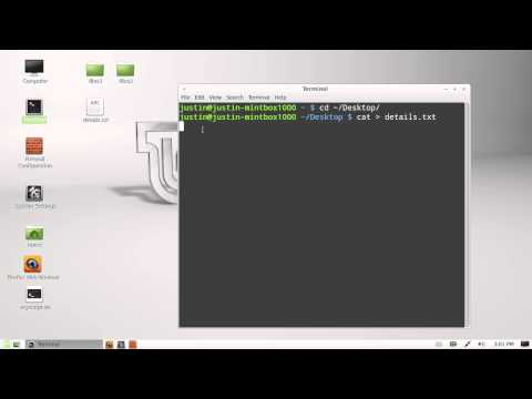 create text files from command line in Linux Mint 13