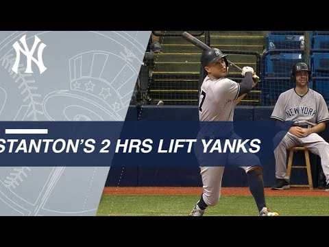 Stanton crushes 2 homers in Tampa