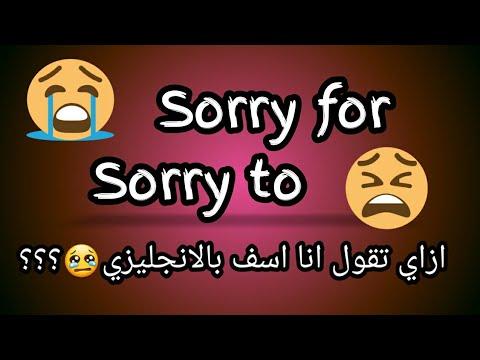 ازاي تقول انا اسف باللغه الانجليزيه Sorry For Sorry To Youtube