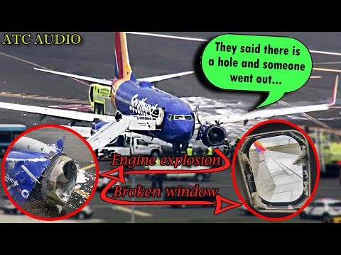 #WN1380 Southwest Engine Explodes in midair and a Window Breaks!