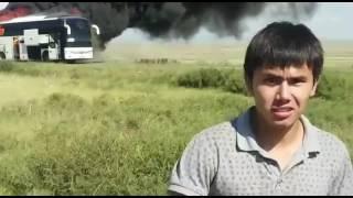 Сгорела автобус трасса Караганда Жайрем