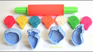 Learn Colors with Ice Cream and Vegetables Play Doh Molds Fun for Children, Toddlers and Babies