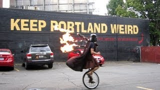 Unicycling Darth Vader Upgrades To Flaming Bagpipes - Keep Portland Weird - The Unipiper *official*