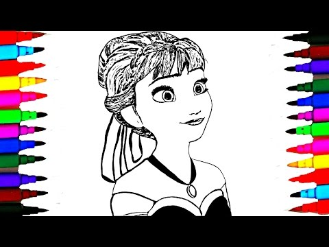 Coloring Pages Disney Frozen Fever Anna Elsa l Drawing Pages To Color For Kids l Rainbow Colors