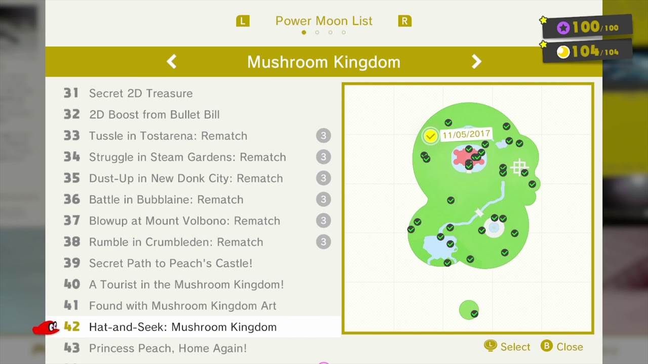 Mushroom Kingdom 100 Moon Locations Map Super Mario Odyssey Youtube