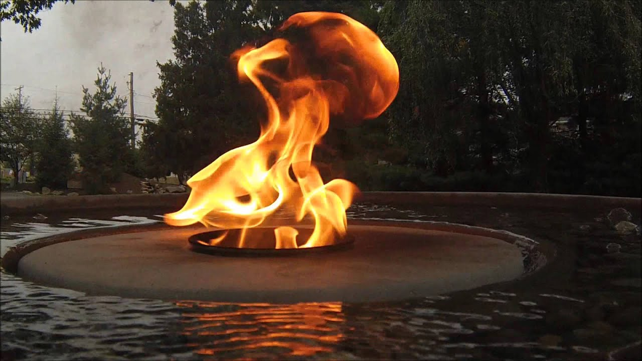 Fire fountain water feature youtube for Fire and water features