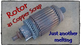 Rotor as copper scrap. Copper melting.