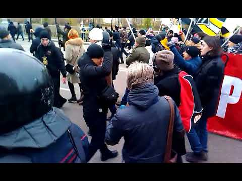 Русский марш в Москве, на улице Перерва, 04.11.2017 г. Шествие