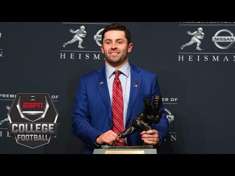 2017 Heisman Trophy winner Baker Mayfield gets emotional thanking his family and coaches | ESPN