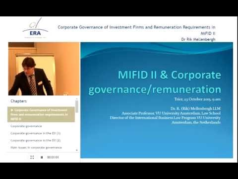 Corporate Governance of Investment Firms and Remuneration Requirements in MiFID II