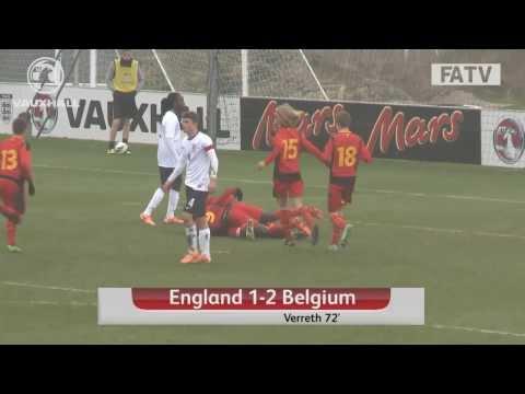 England U17s vs Belgium 1-2, goals and highlights