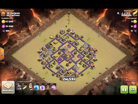 how to 3 star the popular town hall 8 forum base using zapquake dragoon - clash of clans