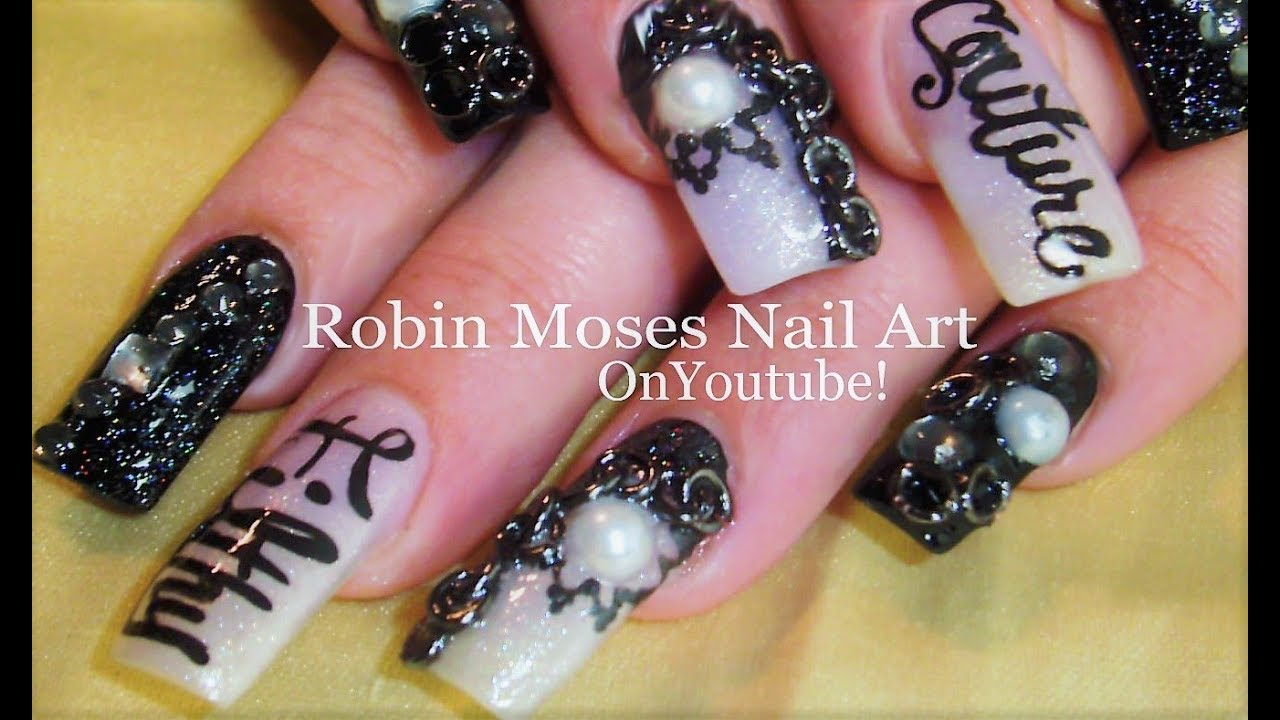 Black and White Diva Nails | Filthy Couture Nail Art ...