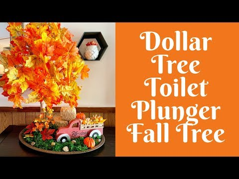 Dollar Tree Fall Crafts: Dollar Tree Toilet Plunger Fall Tree Scene