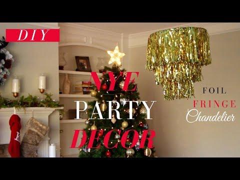 EASY DIY New Years Eve Party Decor | DIY Foil Fringe Chandelier | EASY & AFFORDABLE!