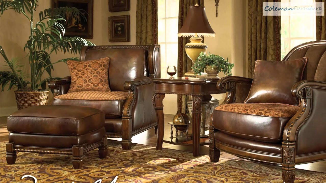 windsor court leather living room collection from aico furniture youtube. Black Bedroom Furniture Sets. Home Design Ideas