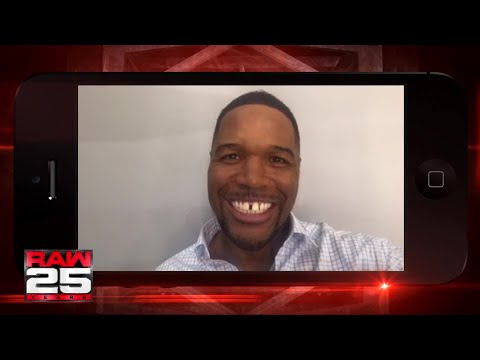 Michael Strahan gives a shout out to the WWE Universe for Raw 25