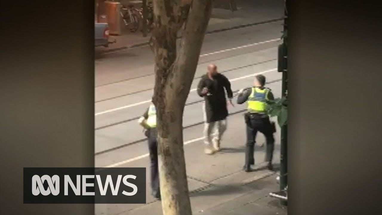 GRAPHIC VISION - Police shoot knife-wielding man in Bourke Street | ABC News