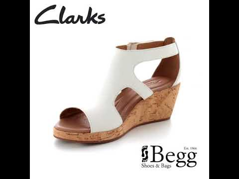 58bb04003 Clarks Un Plaza Strap D Fit White Wedge Sandals - YouTube