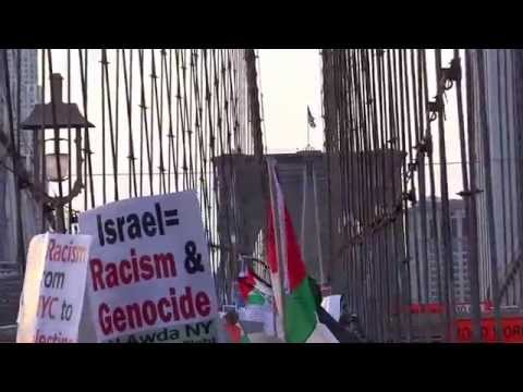 MARCH For PALESTINE!! over BROOKLYN BRIDGE/ ENERGY IS HIGH!!