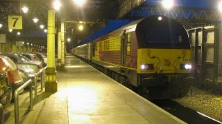 UK: ScotRail Caledonian Sleeper overnight train leaving Perth station, Scotland with Class 67 loco